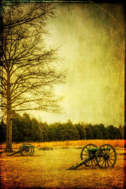 Civil War Cannons at Sunset Photo Photograph American History Stones River Battlefield Murfreesboro Union Army Laminated Dry Erase Sign Poster 18x12
