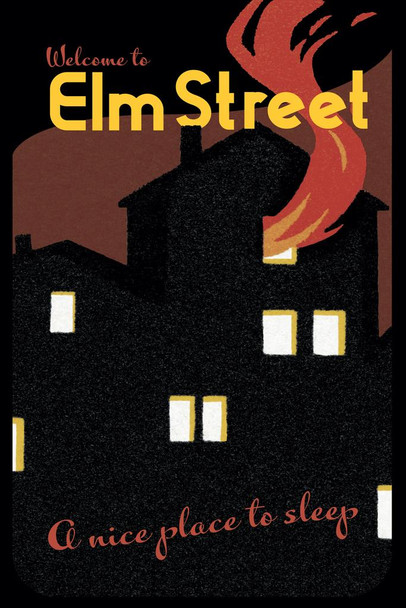Welcome To Elm Street A Nice Place To Sleep Horror Movie Nightmare Retro Vintage Travel Minimalist Spooky Scary Halloween Decorations Cool Huge Large Giant Poster Art 36x54