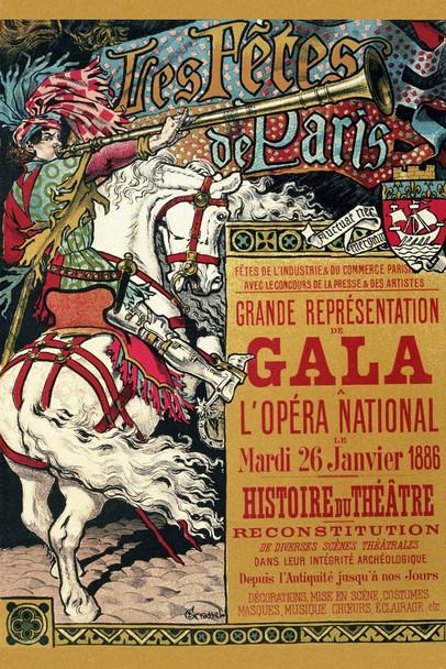 Tres Fetes de Paris Gala Opera National Music Theater 1886 Vintage Cool Huge Large Giant Poster Art 36x54