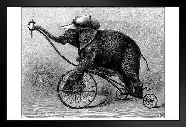 Antique Illustration of Circus Elephant Photo Photograph Art Print Stand or Hang Wood Frame Display Poster Print 13x9