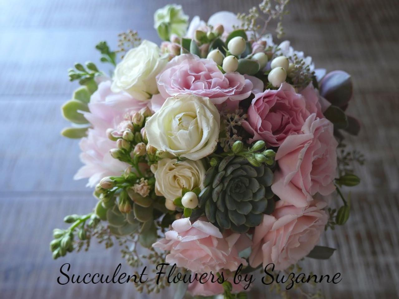 Wedding Succulents And Flower Wedding Bouquet Blush Cactus Limon