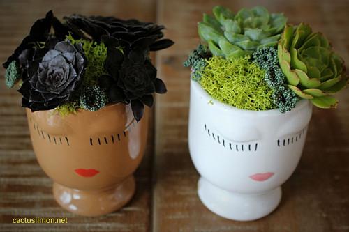 Succulent Design Head Planter Duo