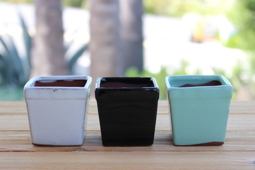 Three Ceramic Square Pots Retro, Deco