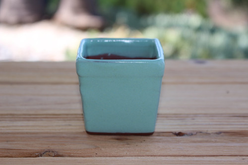 ceramic square pot vintage green