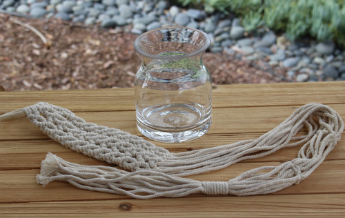 glass container with macrame