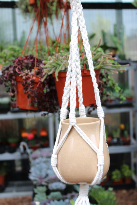 macrame with tear drop ceramic pot
