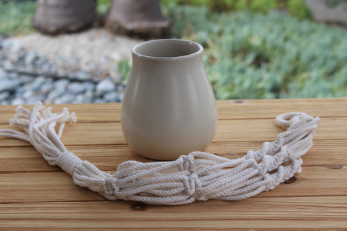 Ceramic Teardrop Pot with macrame