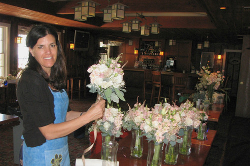 Suzanne making bouquet