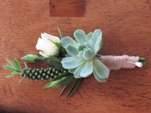 wedding boutonniere with rose and succulent plant