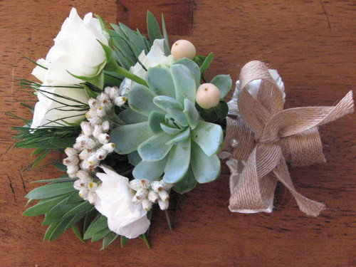 corsage with roses and succulent plants