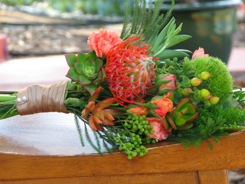 succulent tropical flower bridal bouquete