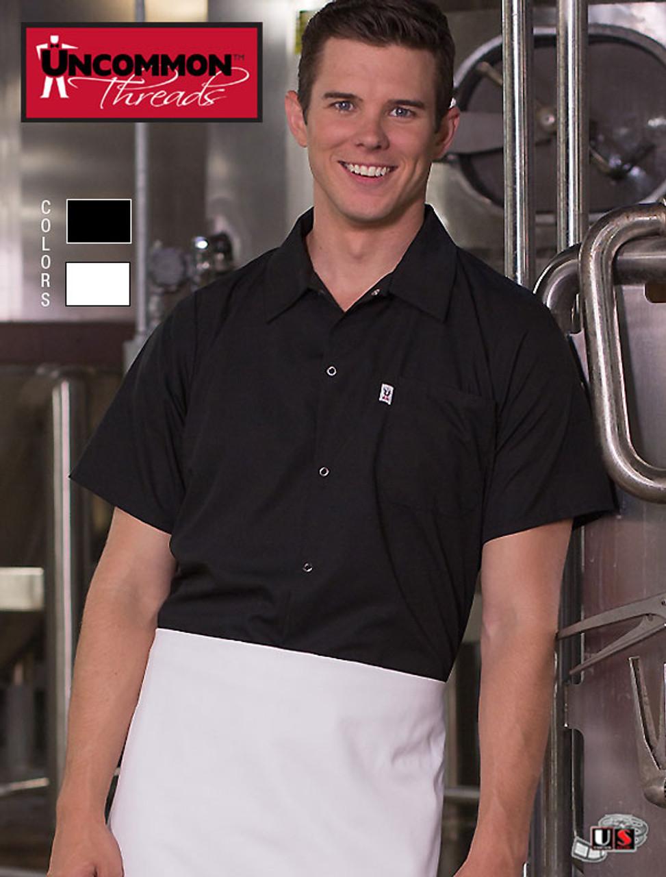 Uncommon Threads Snap Chef Utility Shirt 0950 Sizes XS to 2XL Black or White