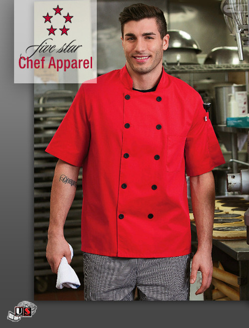 Five Star Chef's Uniform Unisex Short Sleeve Jacket-Royal