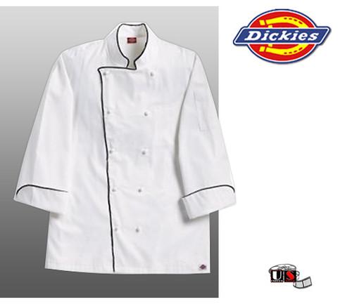 Dickies Grand Master White Chef Coat w/ Black Piping