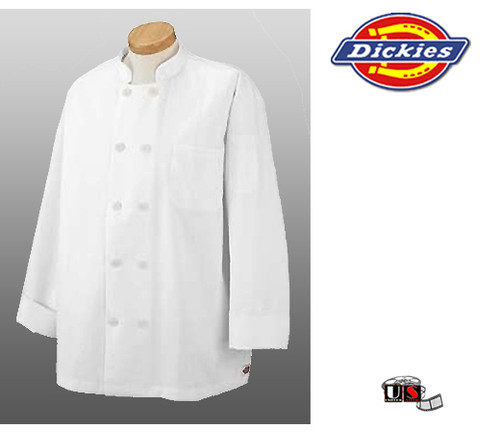 Dickies Chef Economy Coat with Dickies Logo Flat Buttons - White