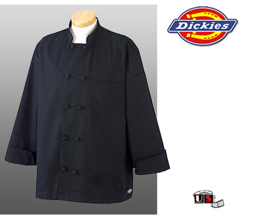 Dickies Chef Economy Chef Coat with Knot Buttons - Black