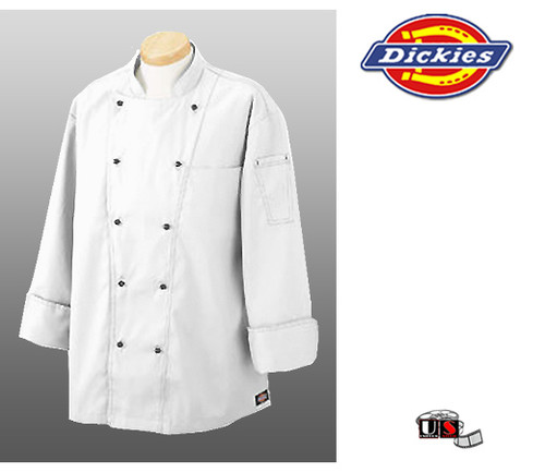 Dickies Executive Chef Coat Jacket with Black Top-Stich