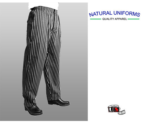 Natural Uniforms Chef Black and White Stripe Cook Pants