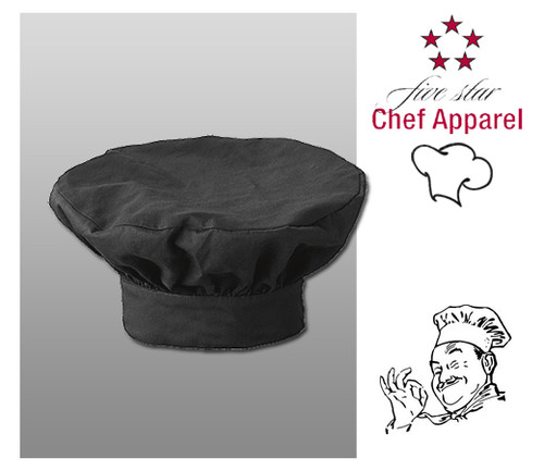 Five Star Chef's Apparel Hat - Black