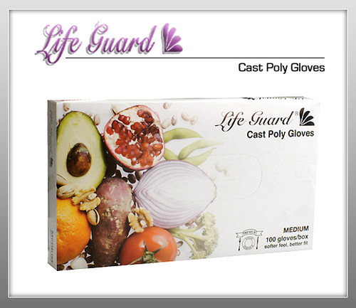 LIFE GUARD Cast Poly Gloves - 100 PE / Bx