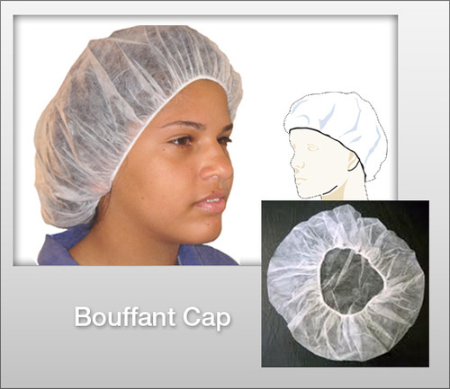 LIFE GUARD Bouffant Cap - 100 Pcs / Bg - White