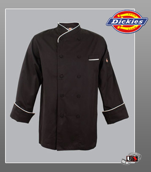 Dickies Chef Egyptian Cotton Chef Black Coat with White Piping