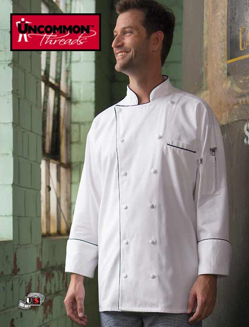 Uncommon Threads PROVENCE Chef Coat White with Black Piping
