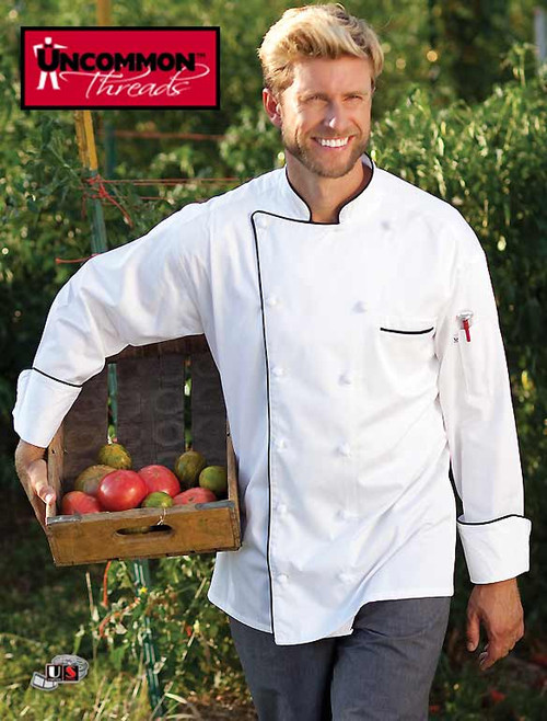 Uncommon Threads VERSAILLES Chef Coatb White with Black Piping