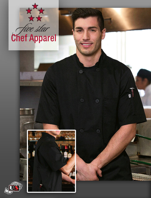 Five Star Unisex Short Sleeve Stretch Executive Chef Coat