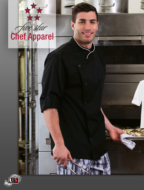 Five Star Unisex Long Sleeve Stretch Executive Chef Coat
