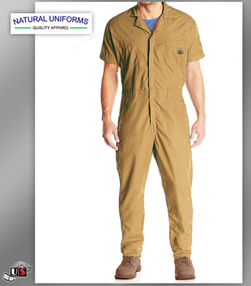Natural Workwear Mens Short Sleeve Basic Blended Work Coverall - Khaki