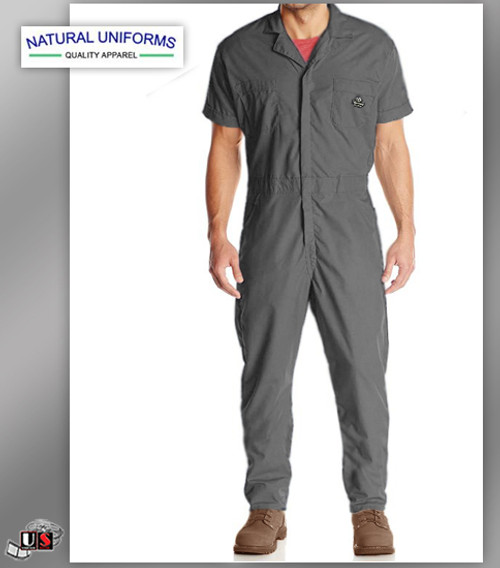 Natural Workwear Mens Short Sleeve Basic Blended Work Coverall - Grey