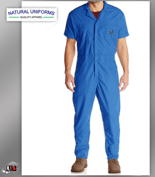 Natural Workwear Mens Short Sleeve Basic Blended Work Coverall - Royal