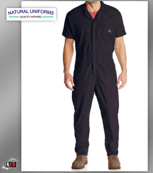 Natural Workwear Mens Short Sleeve Basic Blended Work Coverall - Black