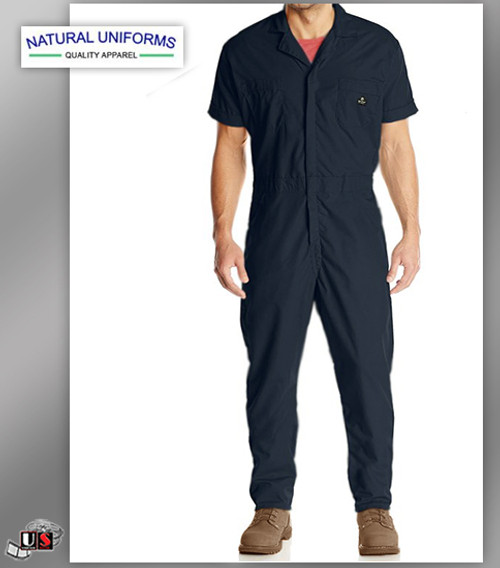 Natural Workwear Mens Short Sleeve Basic Blended Work Coverall - Navy
