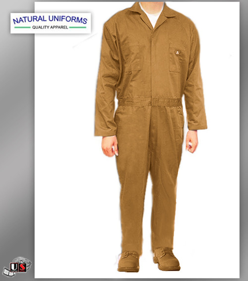 Natural Uniforms Workwear Mens Long Sleeve Basic Blended Work Coveral - Khaki
