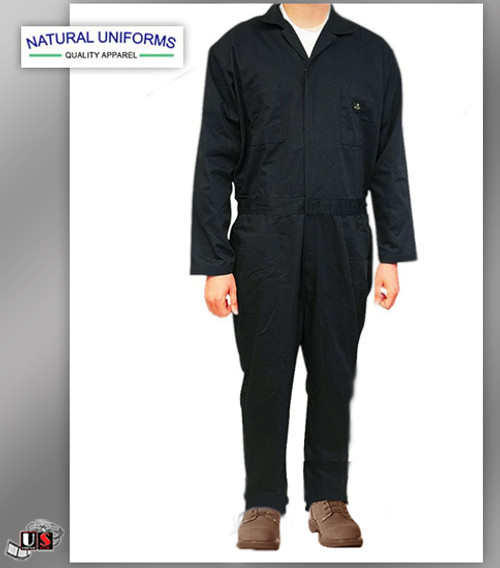 Natural Uniforms Workwear Mens Long Sleeve Basic Blended Work Coveral - Black
