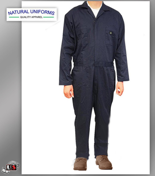 Natural Uniforms Workwear Mens Long Sleeve Basic Blended Work Coveral - Navy