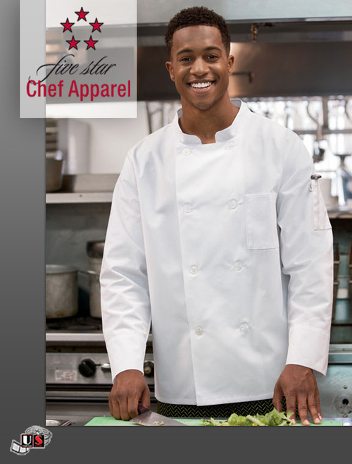 18017 Five Star Unisex Long Sleeve Moisture Wicking Mesh Back Chef Coat