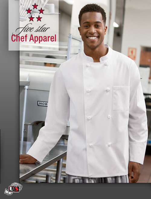 18016 Five Star Unisex Knot Button Chef Coat