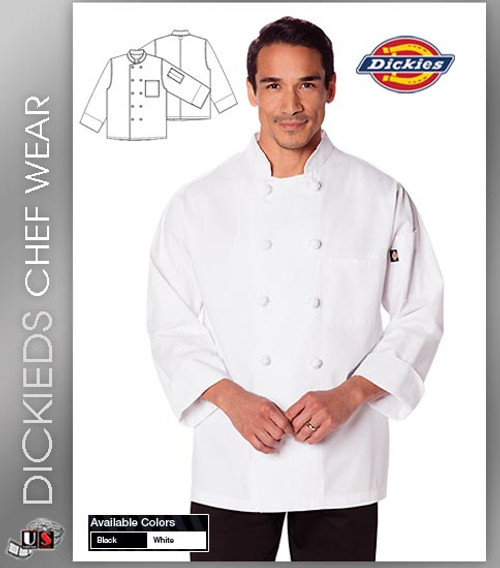 Dickies Chef Unisex Classic 2 Pockets Knot Button Chef Coat