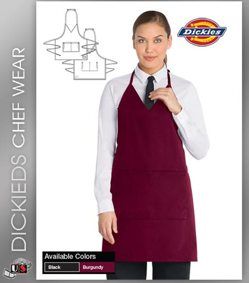 Dickies Chef Unisex 1 Pocket Tuxedo Style Bib Apron