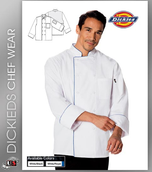 Dickies Chef Unisex 2 Pockets Cool Breeze Chef Coat with Piping