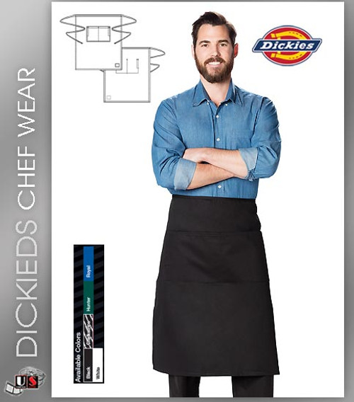 Dickies Chef Unisex 1 Pocket Full Bistro Waist Apron