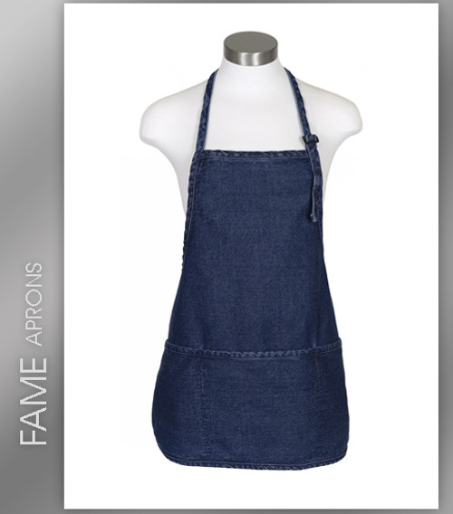 FAME 3 Pocket Adjustable Neck Round Bottom Bib Apron