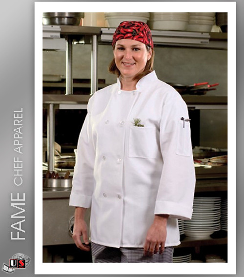 Fame 8 Button Economy Long Sleeve Classic Chef Coat