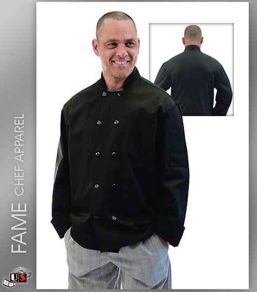 Fame 10 Button Mesh Back Long Sleeve Chef Coat