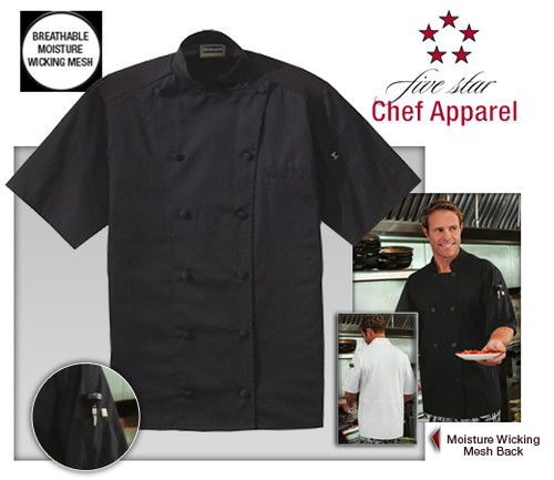 Five Star Chef Apparel Mens Moisture Wicking Mesh Back Chef Coat - Black