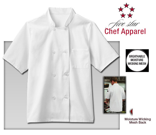 Five Star Chef Apparel Mens Moisture Wicking Mesh Back Chef Coat - White