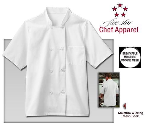 Five Star Chef Apparel Mens Moisture Wicking Mesh Back Chef Coat - White